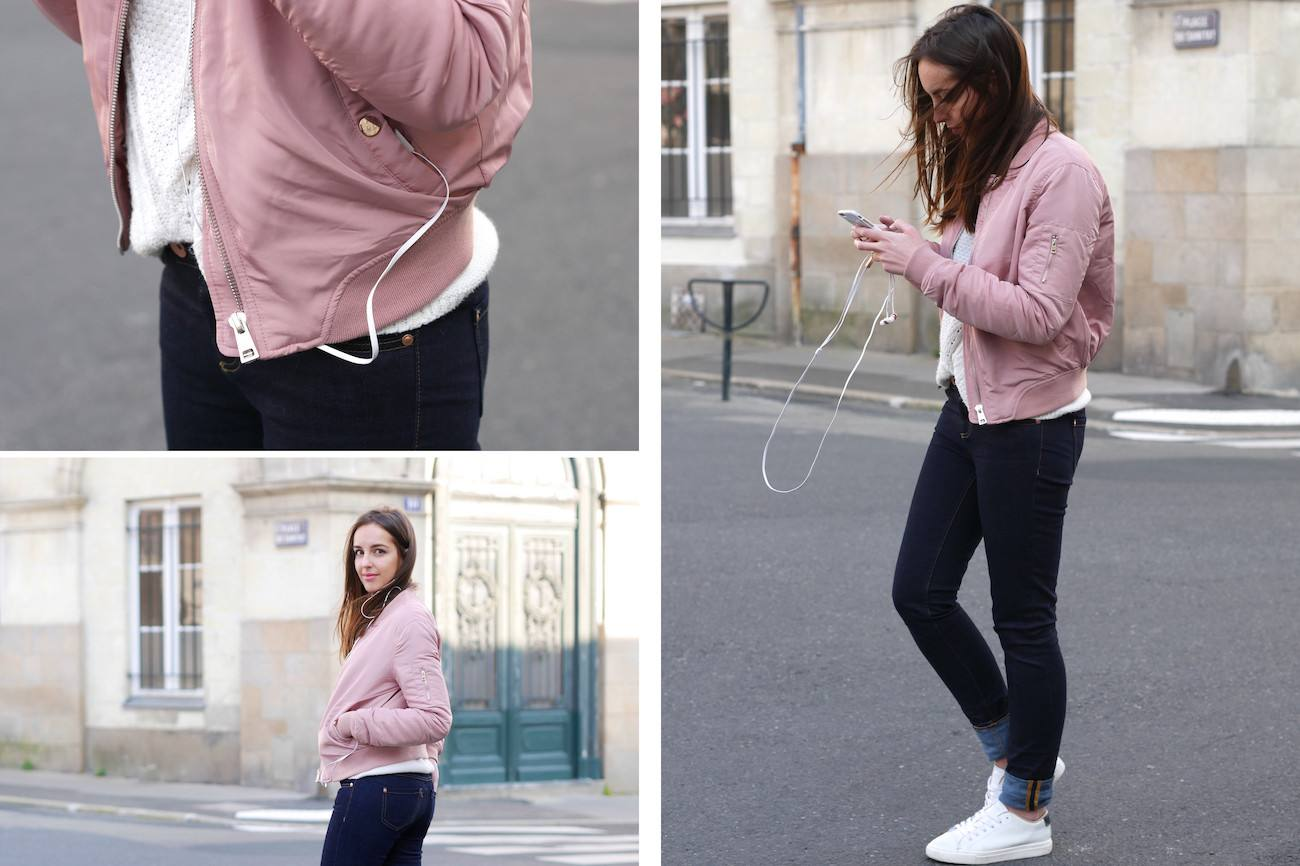 Bombers rose poudré layering - blog mode 7